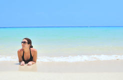 Relax in Thailand. Woman on the beach. Phi Phi islands Royalty Free Stock Photography