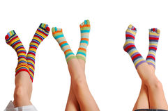 Relax three baby, many colors of socks Royalty Free Stock Image