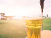 Relax Time, beer in garden view in evening Stock Image
