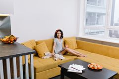 Relax time in modern apartment of enjoyed, happy young woman chilling on orange couch. Magazine, cup of tea, home pets. Joyful mood, smiling, true emotions stock photos