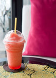 Relax time with refreshing strawberries smoothie. In the cafe Royalty Free Stock Images