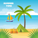 Relax and tourism on the beach under a palm tree. Summer holidays vector background, relax and tourism on the beach under a palm tree. Baggage, tent with travel Stock Images