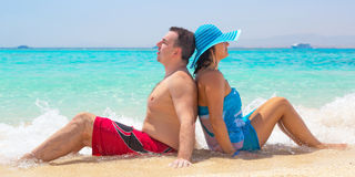 Relax on the tropical beach with turquoise water Stock Photo
