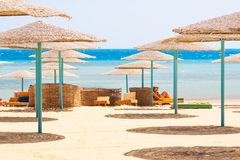 Relax under parasol on the beach of Red Sea. Egypt Stock Image