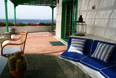 Relax under the patio. View of the sea on the horizon. Beautiful vacation in Canarias Stock Photography