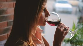 Relax unwind business woman glass red wine cafe. Relax and unwind. Business woman having a glass of red wine in cafe stock video
