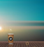 Relax,Vacation time,Holiday,wooden texture floor balcony with skyline nature scenery background ,with coffee cup. To adapt idea for holiday,travel,postcard royalty free illustration