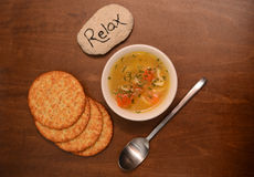 Relax and vegetable soup Royalty Free Stock Photography