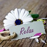 Relax. White flower with text sign relax stock image