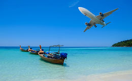 Relax on the white sand beach and blu Stock Photography