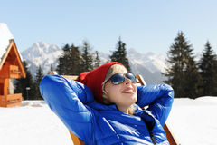 Relax in winter mountains Stock Photo