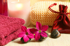 Relax for woman. Luxury spa resort therapy in claret colour. Relaxation moments Stock Image