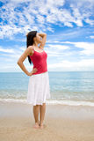 Relax woman by the beach stock image