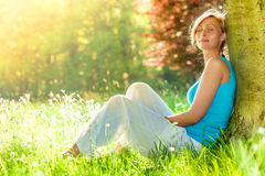 Relax woman outdoors Stock Photography
