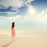 Relax Woman standing on Beach Sun sky in Thailand Royalty Free Stock Photography