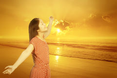 Relax Woman standing on Beach Sunset Royalty Free Stock Photography