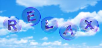 The relax word in bubble. The relax word in soap bubble on blue sky background,3d rendered vector illustration