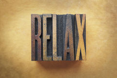 Relax. The word RELAX written in vintage letterpress type stock image