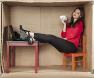 Relax at work. Business woman in the office Royalty Free Stock Photos