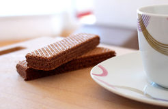 Relax in work with cacao biscuit and coffee Stock Photos