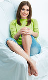 Relax young woman. Portrait. on whate Royalty Free Stock Images