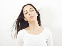 Relax young woman on white background Royalty Free Stock Photography