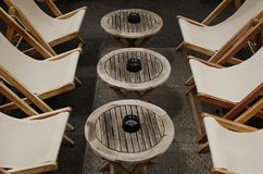 Relax zone in embankment in Strasbourg, France Stock Images