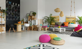 Relax zone in office. Colorful creative relax zone and dining space in modern office stock photography