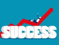 relaxado Robô que encontra-se em um gráfico que vai acima Succe do negócio do conceito ilustração stock