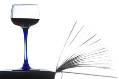 Relaxamento com um livro e um vinho vermelho. Imagens de Stock