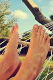 Relaxamento em um Hammock Imagem de Stock Royalty Free