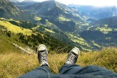 Relaxamento na montanha em Suíça Foto de Stock Royalty Free