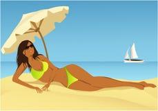 Relaxamento na praia ilustração do vetor