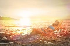 Relaxamento na praia Fotografia de Stock
