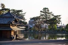 Relaxando por um lago em Nara, Jap?o fotografia de stock