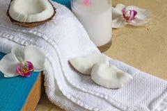 Relaxation à la plage avec des noix de coco et des orchidées Plan rapproché, copyspace Photo libre de droits