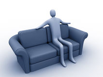 Relaxation. 3d person sitting on a sofa vector illustration