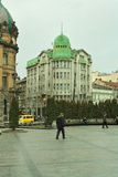 Relaxation area,  bank building,  street in the center of Lviv, Ukraine. Stock Photos