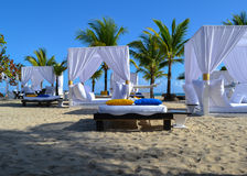 Relaxation area on the beach in the caribbean Stock Photos