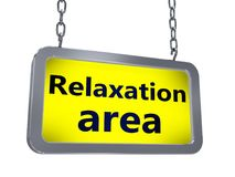 Relaxation area on billboard. Relaxation area on yellow light box billboard on white background stock illustration