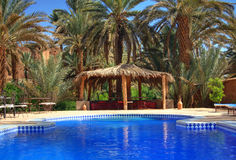 Relaxation area in an exotic holiday resort.  Royalty Free Stock Photography
