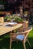 Relaxation area in garden Stock Photos