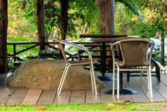 Relaxation area in a garden Royalty Free Stock Image