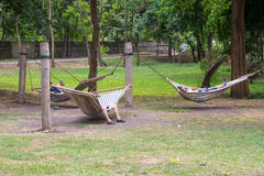 Relaxation area in the seaside park of Bourgas, Bulgaria Stock Photo