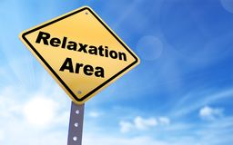 Relaxation area sign. On blue sky background,3d rendered Stock Images