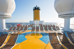 Relaxation area on upper deck of liner Stock Images