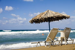 Relaxation on the beach, Crete Stock Image