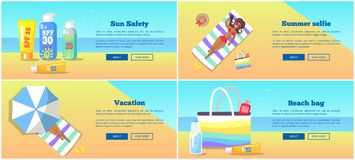 Relaxation on Beach in Summertime Vector Poster. In flat design of woman on sunbed, sun protective cosmetics, special bag and other royalty free illustration