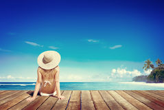 Relaxation Beach Woman Vacation Outdoors Seascape Concept Stock Images