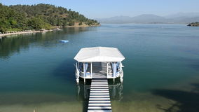 Relaxation building near beach on Mediterranean turkish resort stock footage